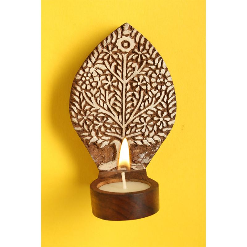 Hand-Carved Wooden Tealight Holder (Small ) created by Traditional Artisans