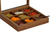 Hand-Carved Sheesham Wood Spice Box - Square created by Traditional Artisans