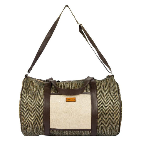 Herringbone Jute Duffel Bag Handcrafted by Women Artisans