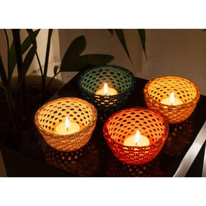 Crochet Cup-Shaped Tea Light Holders - Set of 4