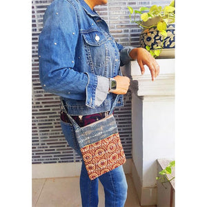 Block Printed Crossbody Sling Bag - Indigo and Red Handcrafted by Underprivileged Women Artisans from Bhopal