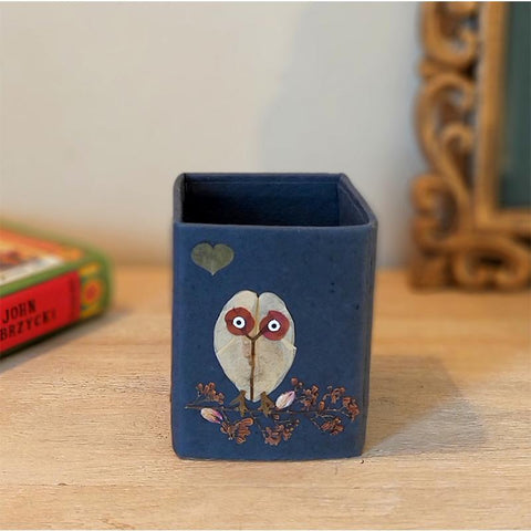 Handcrafted Pencil Holder with Handpressed Flowers (Blue Owl)