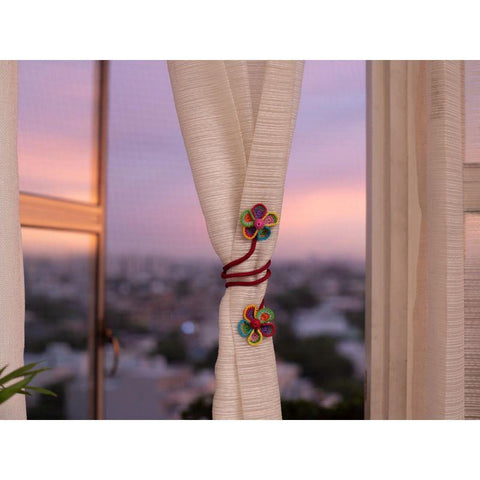 Crochet Curtain Tie - Multicoloured Flower (Set of 2)