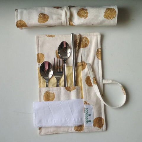 Reusable Steel Cutlery Pouch (Spoons, Fork, Straw + Cleaner and Napkin)