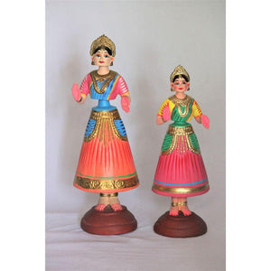 Dancing Doll made of Paper Waste (Blue and Green) - Set of 2