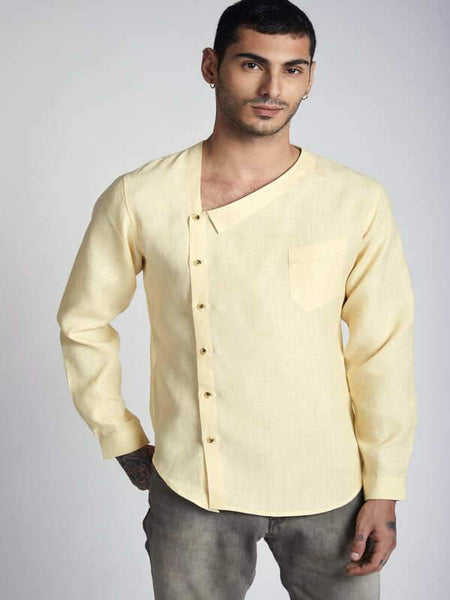 Men's Natural Hemp Asymmetric Shirt - Yellow