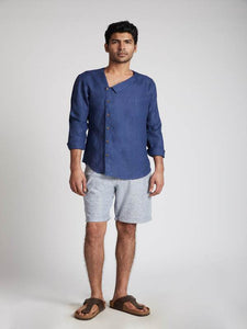 Men's Natural Hemp Asymmetric Shirt - Navy