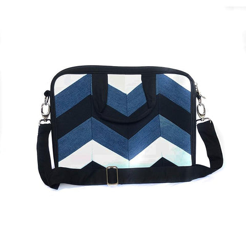 Upcycled Denim Laptop Bag - Chevron Patchwork