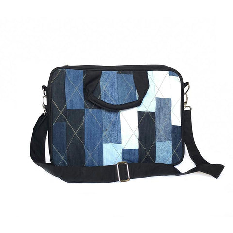 Upcycled Denim Laptop Bag - Rectangular Patchwork