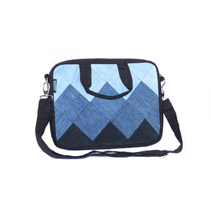 Upcycled Denim Laptop Bag - Square Patchwork