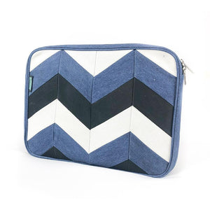 Upcycled Denim Laptop Sleeve - Chevron Patchwork