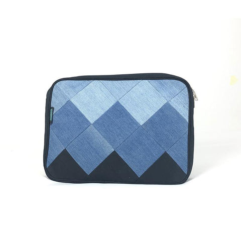 Upcycled Denim Laptop Sleeve - Square Patchwork