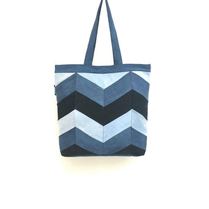 Upcycled Denim Tote /Laptop Bag - Chevron Patchwork