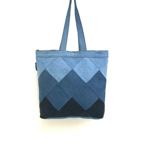 Upcycled Denim Tote /Laptop bag - Square Patchwork
