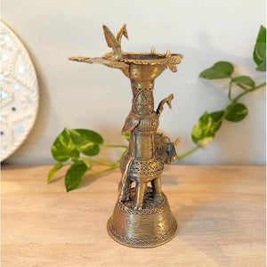 Handcrafted Dhokra Elephant Oil Lamp
