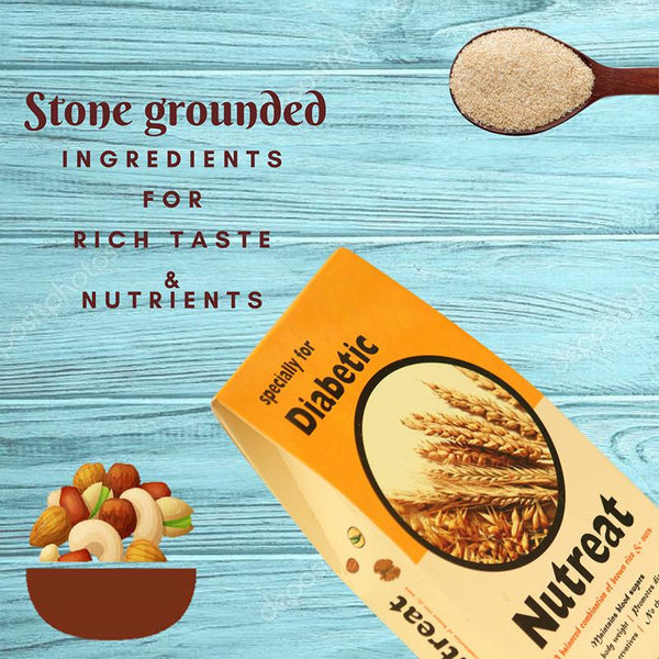 Handcrafted Diabetic-Friendly Stone-Ground Brown Rice Blended with Wheat, Flax seeds and Dry Fruits, 400g