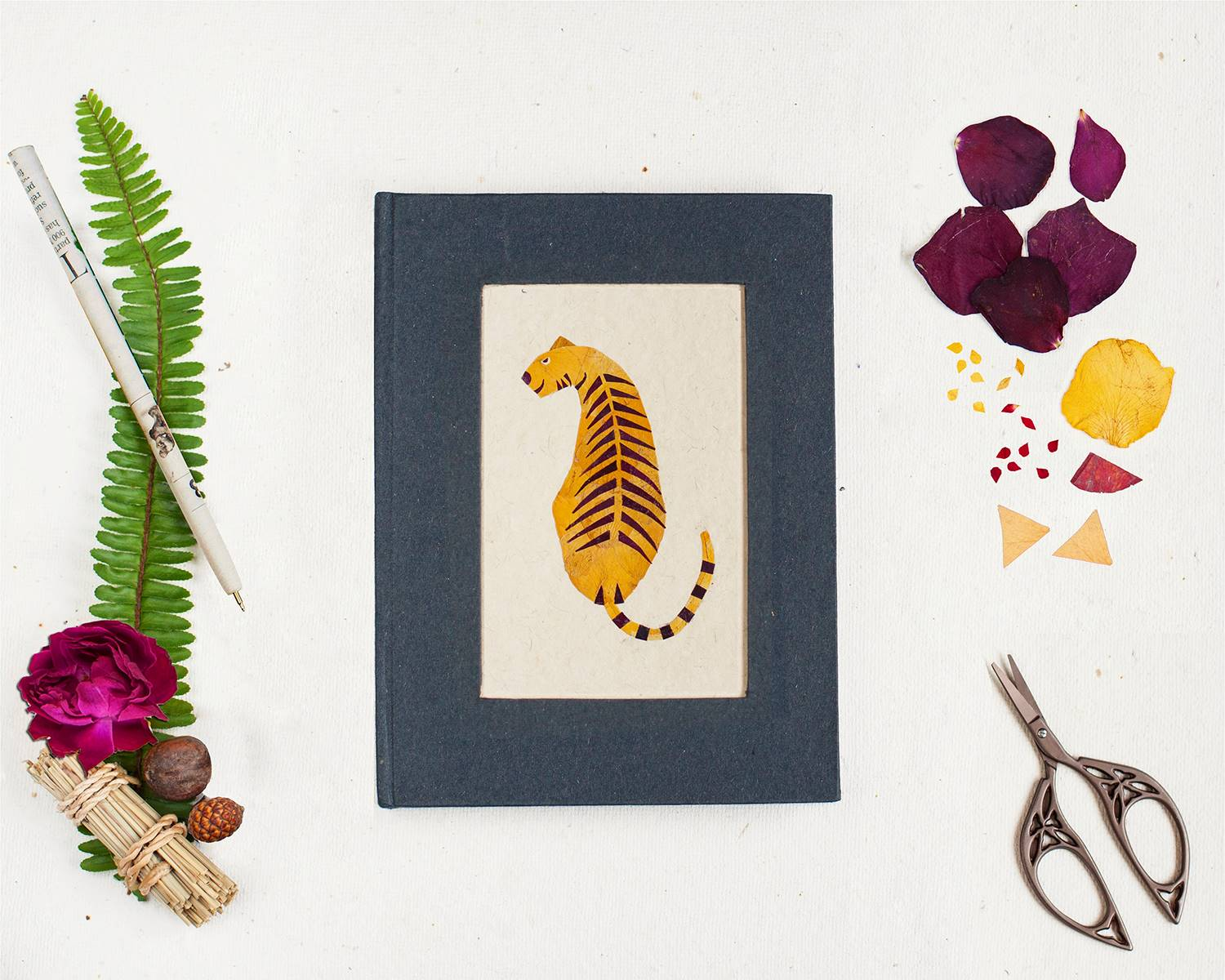Floral Diary with Tiger Motif Handmade by Women Artisans