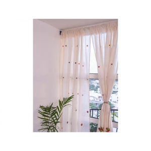 Cotton Curtain with Multicoloured Crochet Detailing - Large Whorls