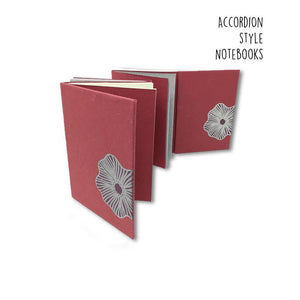 Dull Red Accordion Style Handmade Paper Journal - Dark Mauve with Poppy Flower