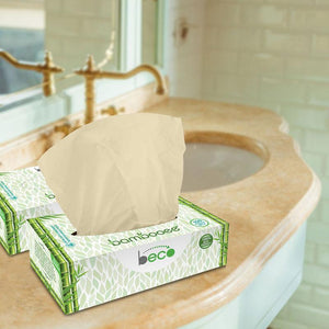 Eco-Friendly Bamboo Facial Tissues - 2 Ply, 100 Pulls