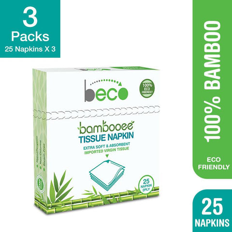Eco-Friendly Bamboo Serving Napkins - 2 Ply, 25 Pcs