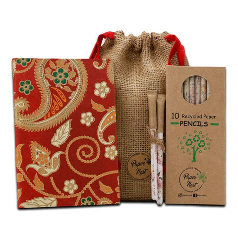 Eco-Friendly Stationery Gift Set - Red