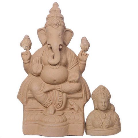 Eco-Friendly Plantable Seed Ganapathi with Gowri (22.86cm)