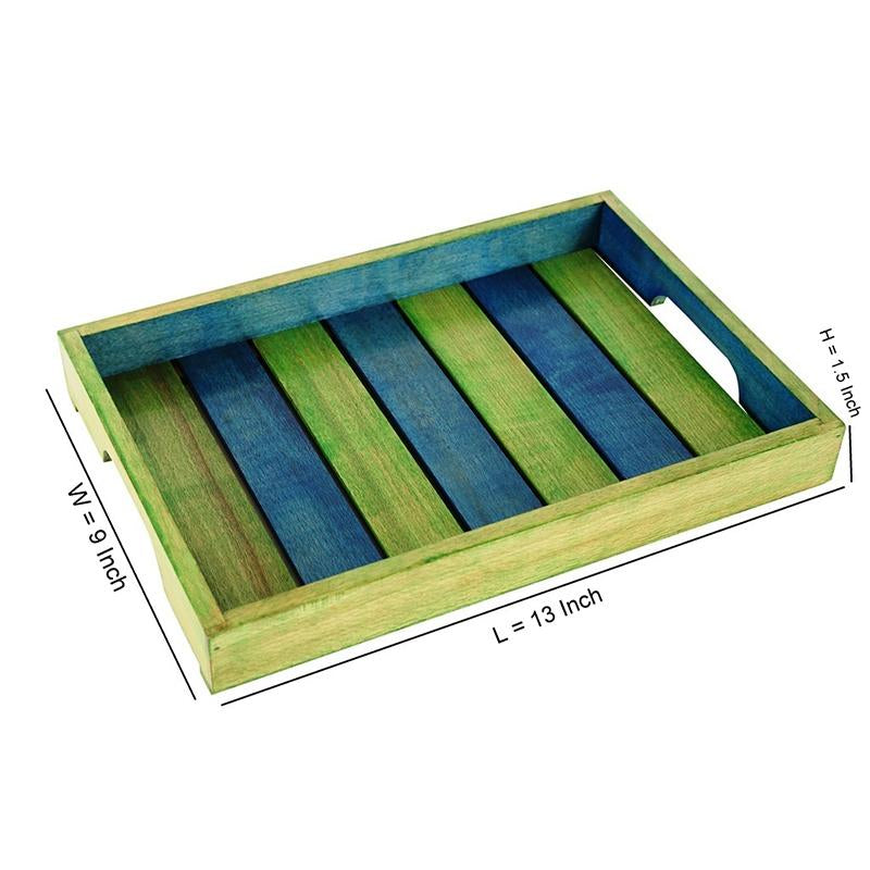Hand-Carved Wooden Serving Tray  (Green and Blue) created by Traditional Artisans