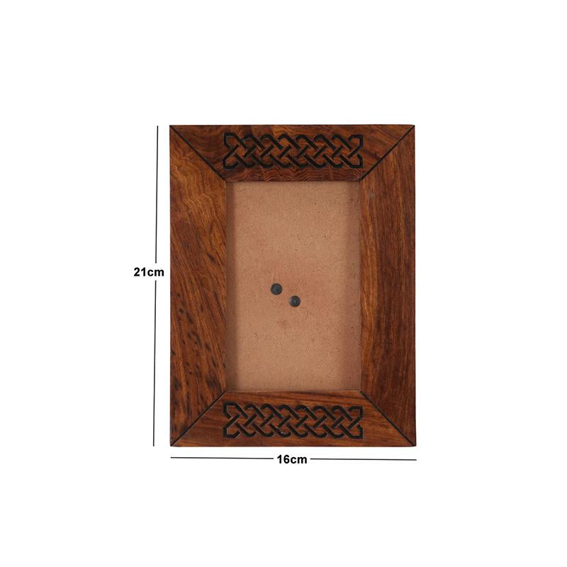 Hand-Carved Engraved Wooden Photo Frame created by Traditional Artisans