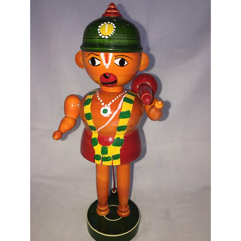 Wooden Hanuman Idol with Green Cap Crafted by Etikoppaka Artisans