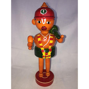 Wooden Hanuman Idol with Red Cap Crafted by Etikoppaka Artisans