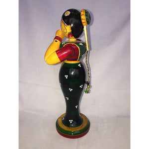 Wooden Lady Doll with Water Pot Carved by Etikoppaka Artisans
