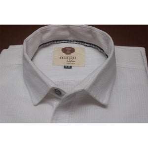 Full Sleeve White Shirt (Checked) Handcrafted by Traditional Weaversof Chennimalai village