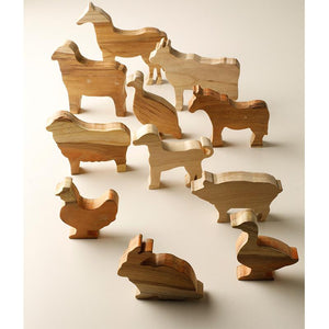 Handcarved Wooden Farm Animals - Set of 11