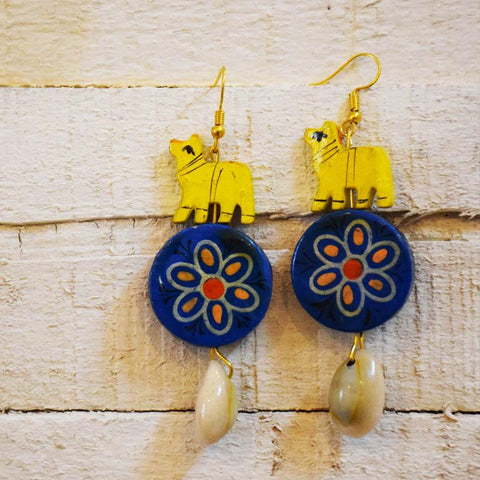 Flower and Camel Earrings Handcrafted by  Women Artisans of  Varanasi