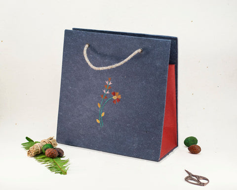 Floral Recycled Paper Gift Bag Handmade by Women Artisans