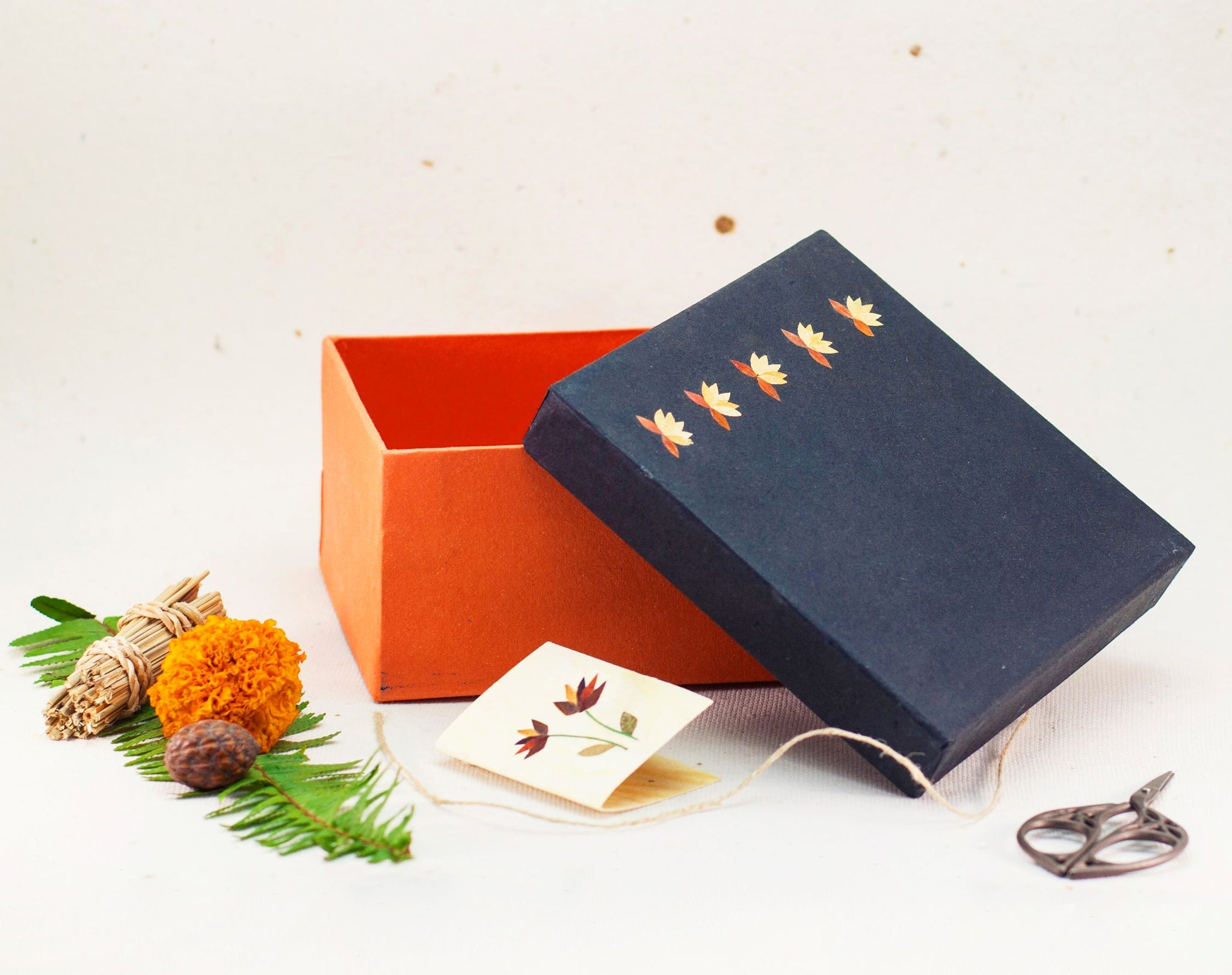 Blue/ Red Small Floral Giftbox Handmade by Women Artisans