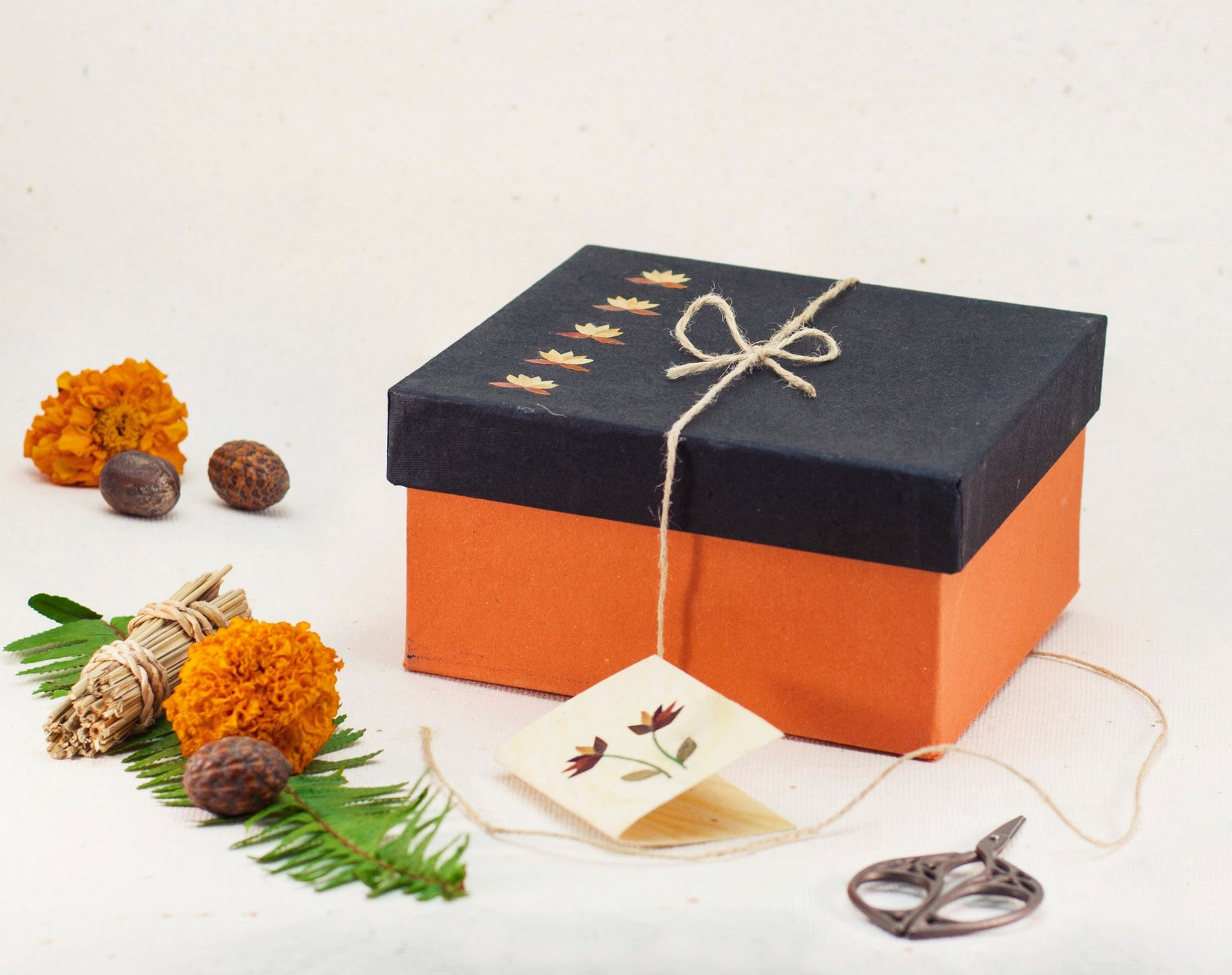 Black/ Orange Small Floral Giftbox Handmade by Women Artisans