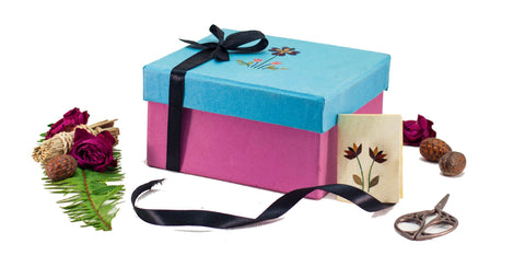 Pink/ Blue Small Floral Giftbox Handmade by Women Artisans