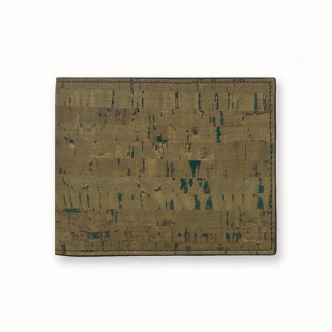 Cork Fabric Men's Coin Wallet - Olive