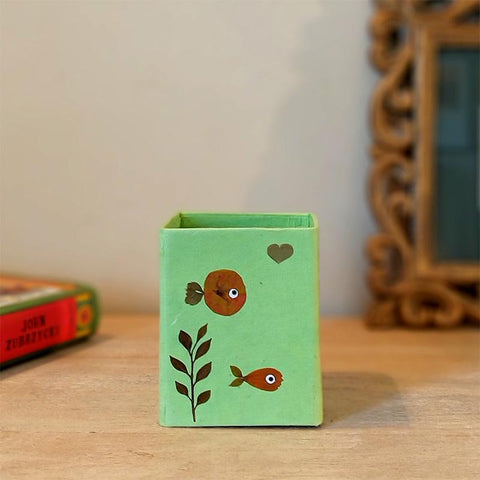 Handcrafted Pencil Holder with Handpressed Flowers (Green Fish)
