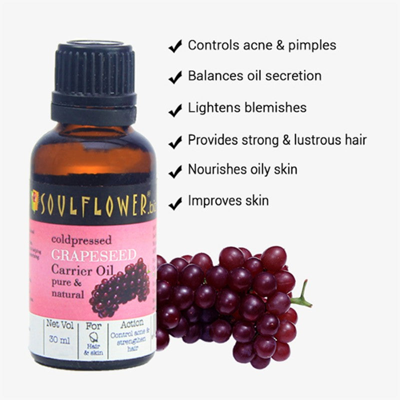Soulflower Grapeseed Oil for Skincare and Acne, 30ml