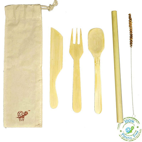 Green-On-The-Go Reusable Bamboo Cutlery Kit With Bamboo Straw