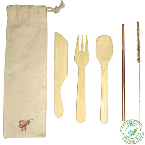 Green-On-The-Go Reusable Bamboo Cutlery Kit With Copper Straw