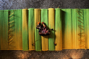 Set of Handwoven Hibiscus Fibre Runner and 6 Placemats (Green and Yellow)