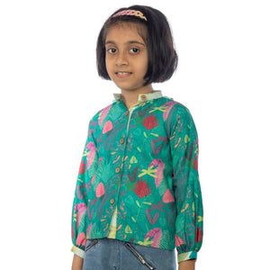 Green Leafy Big Girl Blouse made of Organic Cotton