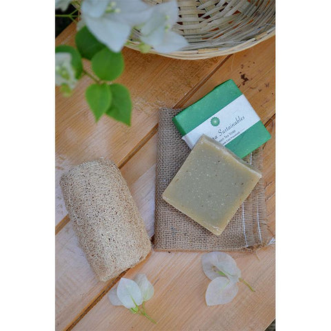 Handmade, Cold-Processed Green Tea Soap and Coconut Fibre Loofah Combo