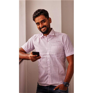 Men's Handwoven Khadi Half Sleeve Shirt - Lavender