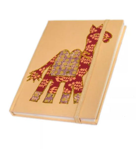 Handcrafted Diary in Cream with Camel Print created by artisans with disability