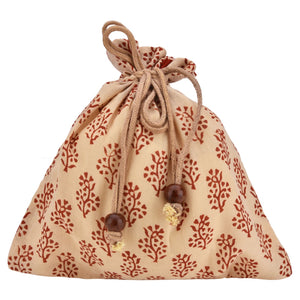 Handcrafted Block Print Gift Bag (038) - Red/ Cream
